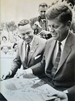 1960 photo of Schenectady Mayor Brian U. Stratton's father, U.S. Congressman Sam Stratton, left, with President John F. Kennedy during a campaign stop in Schenectady.  (Photo courtesy of Brian Stratton)