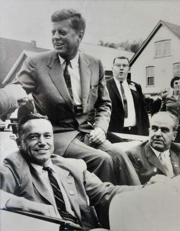 1960 photo of Schenectady Mayor Brian U. Stratton's father, U.S. Congressman Sam Stratton, left, in a motorcade with John F. Kennedy during a campaign stop in Schenectady.  (Photo courtesy of Brian Stratton)