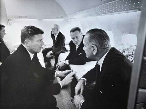 Undated photo of U.S. Congressman Sam Stratton, second from right, with President Lyndon Johnson aboard Air Force One. Others in photograph are unidentified.   (Photo courtesy of Brian Stratton)