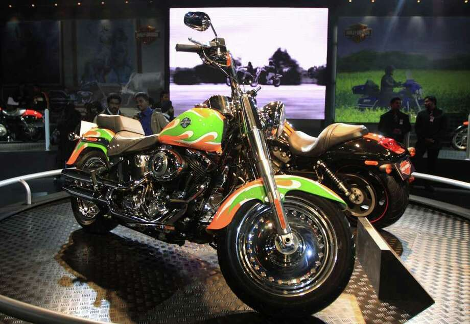 A Harley-Davidson motorcycle sits on display at the Auto Expo 2010 in New Delhi, India, on Tuesday, Jan. 5, 2010. Carmakers are introducing new cars at the expo in India, the world's second-fastest growing major economy, while demand slumps in the U.S. and Europe. Photographer: Pankaj Nangia/Bloomberg Photo: Pankaj Nangia, Bloomberg