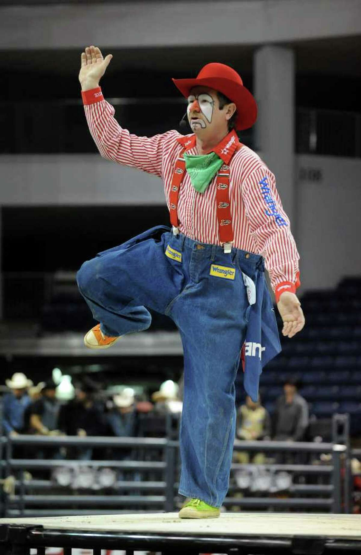 Rodeo clown Gizmo McCracken entertains the audience during the Professional Bull Riders Touring Pro Division's Town Fair Tire Invitational at Webster Bank Arena at Harbor Yard in Bridgeport, Conn. on Friday January 21, 2011.