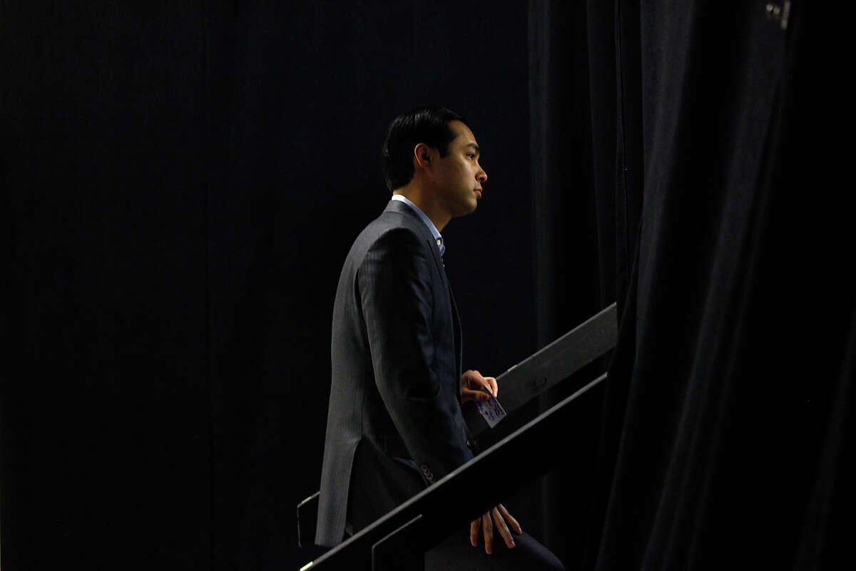 Mayor Julian Castro waits to walk on stage to give his closing remarks at the final workshop for SA2020.