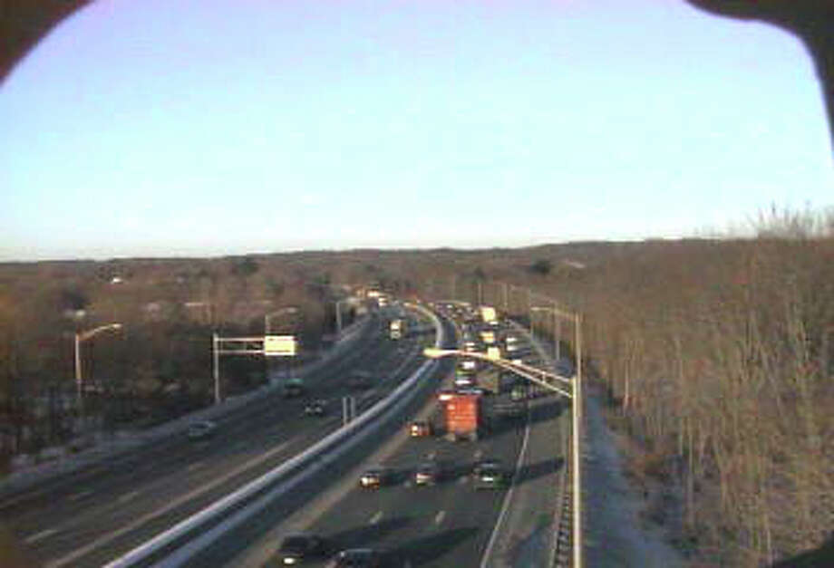 Traffic on I-95 northbound is heavily congested near exit 38 in Milford after a car fire shut down the right and center lanes. Photo: Contributed Photo/DOT