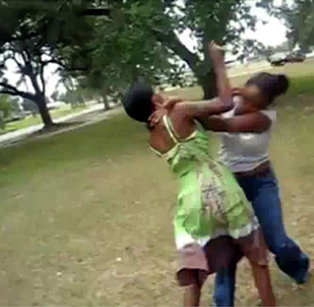 Still taken from YouTube video showing two women fighting in Beaumont.
