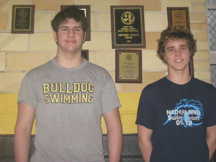Nederland swimmers junior Thomas Daniels, left, and senior Brady Judice, right, are two of the top swimmers in the area and will compete in the District 20-4A swim meet on Tuesday night at the new Beaumont ISD swimming pool.
