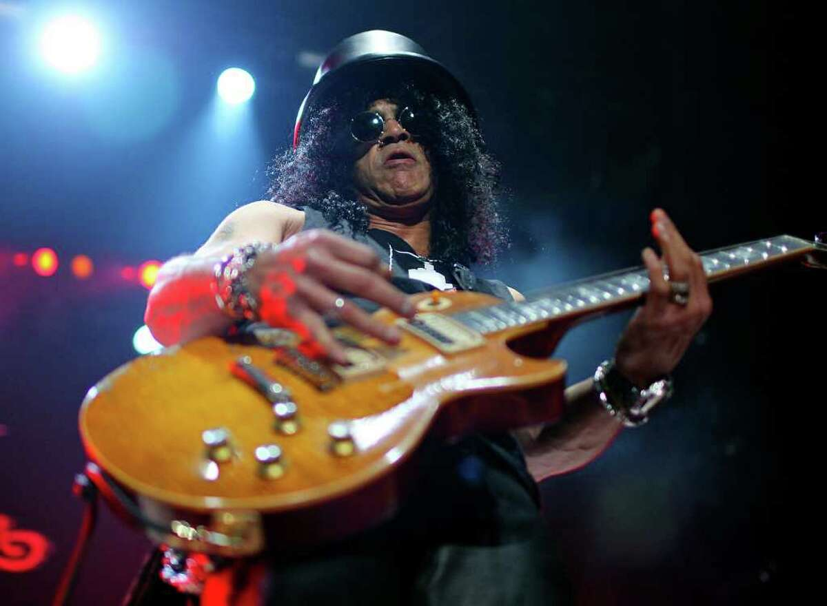 Slash performs Monday, Jan. 24, 2011, at the AT&T Center.