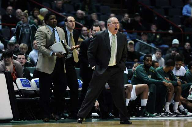 Siena head coach Mitch Buonaguro saw his team lose 68-60 to Rider on Monday night at Times Union Center in Albany. ( Philip Kamrass / Times Union ) Photo: Philip Kamrass