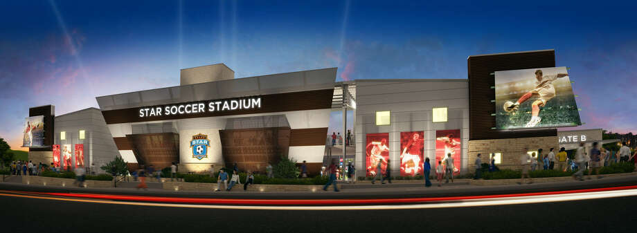 An artist rendering of the proposed soccer stadium for the San Antonio Scorpions FC, the team owned by Gordon Hartman. Photo: Courtesy Illustration