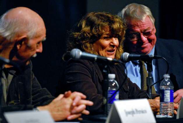 From left to right are Joseph Persico, Times Union reporter Carol DeMare and News 10 reporter John McLoughlin discuss Albany Mayor Erastus Corning 2nd at a 2009 forum (Philip Kamrass / Times Union) Photo: PHILIP KAMRASS / 00006056A