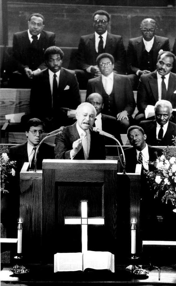 "February 2, 1986: Rabbi Joseph Ehrenkranz of Congregation Agudath Sholom delivers the guest homily at Stamford's Union Baptist Church. Behind Ehrenkranz is his assistant, Rabbi Howard Bald, left, and Union Baptist Pastor the Rev. Robert W. Perry, right. About 60 people had gathered for the first meeting in Stamford of the ""Coalition of Conscience"" an attempt to bring together people. Photo: File Photo / Stamford Advocate File Photo"