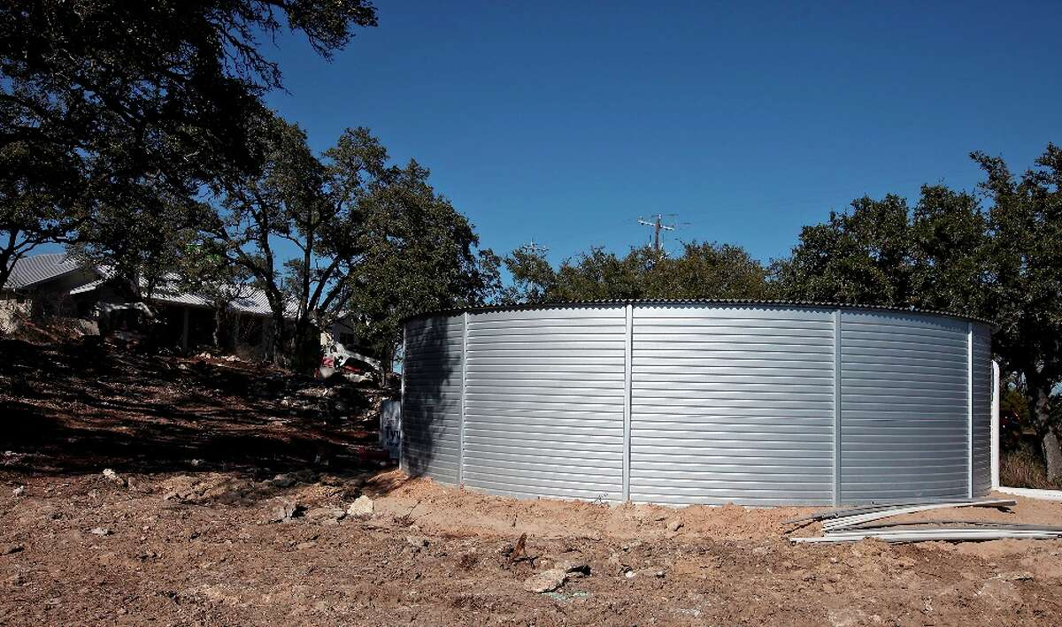 The 30,000 gallon rainwater storage tank outside the BuiltSmart Resources
