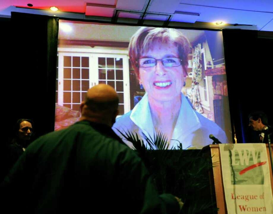 Former New Jersey Gov. Christine Todd Whitman, does a Skype press conference that was held in a ballroom at the Hyatt Regency Greenwich, during the League of Women Voters of Connecticut 90th Anniversary Dinner, Thursday night, Jan. 27, 2011. Photo: Bob Luckey / Greenwich Time