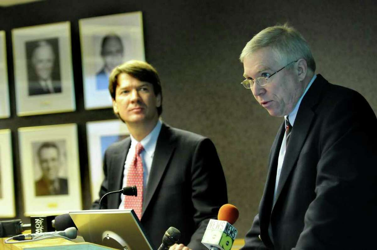 Kenneth Adams, left, will leave the Business Council for a top Empire State Development Corp. post. E.J. McMahon is at right. (Cindy Schultz/Times Union)