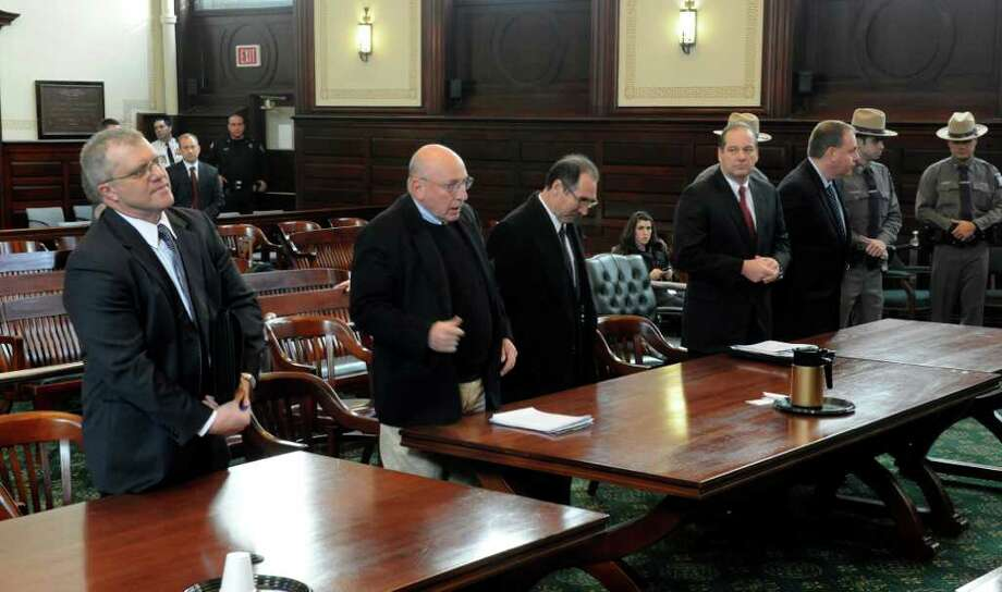 Edward McDonough Jr., right,  appears Friday before Justice George Pulver with co-defendant Michael LoPorto, third from left, in Rensselaer County Courthouse in Troy.  (Skip Dickstein / Times Union) Photo: SKIP DICKSTEIN / 2008
