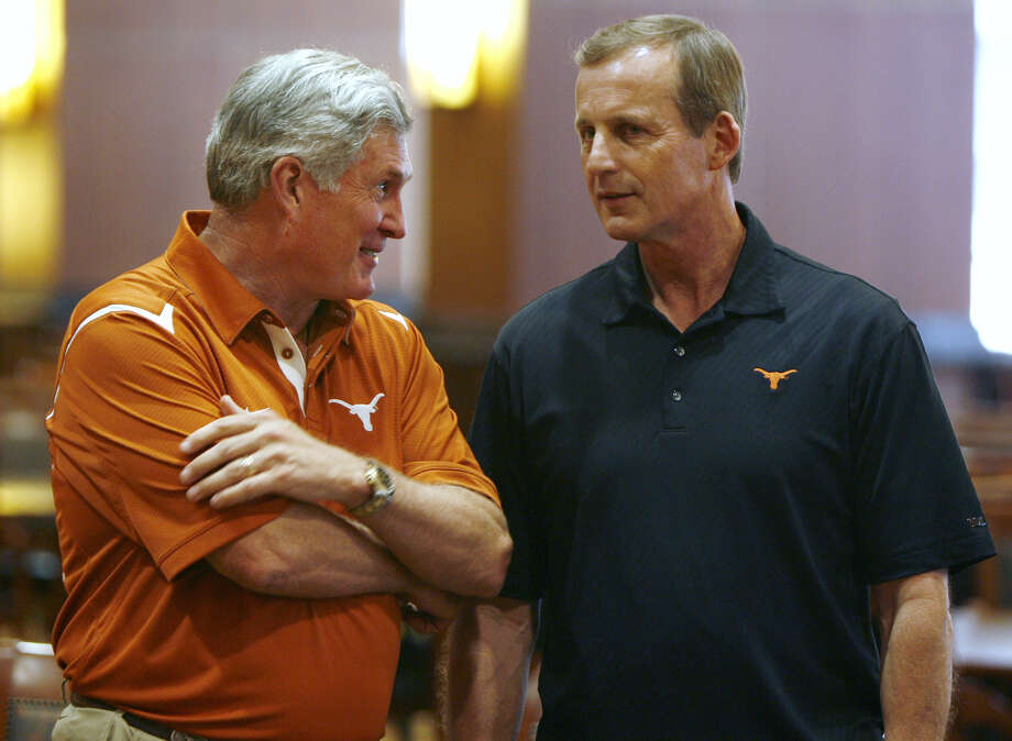 Despite their irrefutable success, neither Mack Brown and Rick Barnes won as often as some thought they should have, nor did they ever shed the perception that recruiting was their biggest strength. Photo: Erich Schlegel/Getty Images