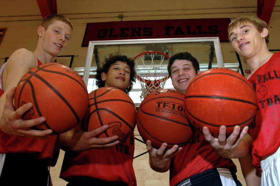 Jimmer Fredette, second from right, started with four other sophmores at Glens Falls High School in 2006, with teammates Denny Wilhelm, Alec Conover and Nick Hildreth. Photo: LUANNE M. FERRIS / TIMES UNION