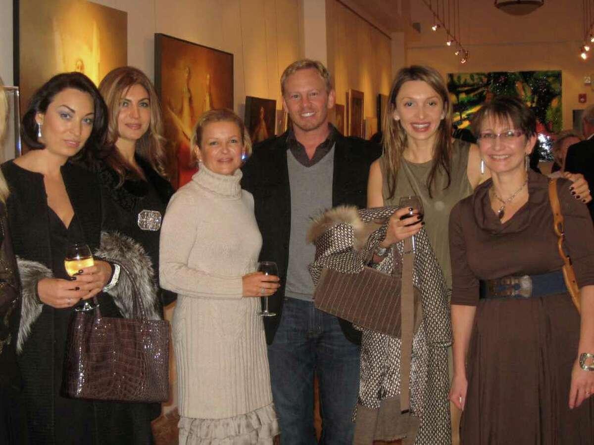 From left, Zhanna Morozova, Mariya Babaev, Natalia Orlova, actor Ian Ziering, Sasha Glavatskaya Vincent, Irene Ioffe at party at Zorya Fine Art gallery on East Putnam Avenue in Greenwich on Tuesday evening.