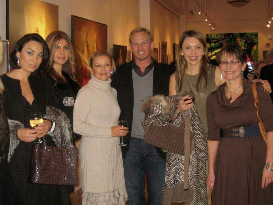 From left, Zhanna Morozova, Mariya Babaev, Natalia Orlova, actor Ian Ziering, Sasha Glavatskaya Vincent, Irene Ioffe at party at Zorya Fine Art gallery on East Putnam Avenue in Greenwich on Tuesday evening. Photo: Contributed Photo / Greenwich Time Contributed