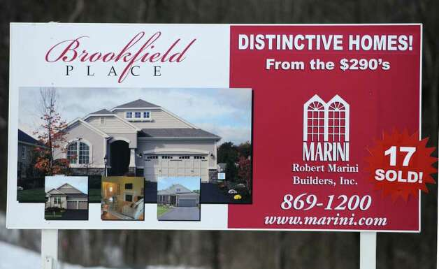 A sign at the Brookefield Place development in Halfmoon, NY on January 28, 2011. (Lori Van Buren / Times Union) Photo: Lori Van Buren