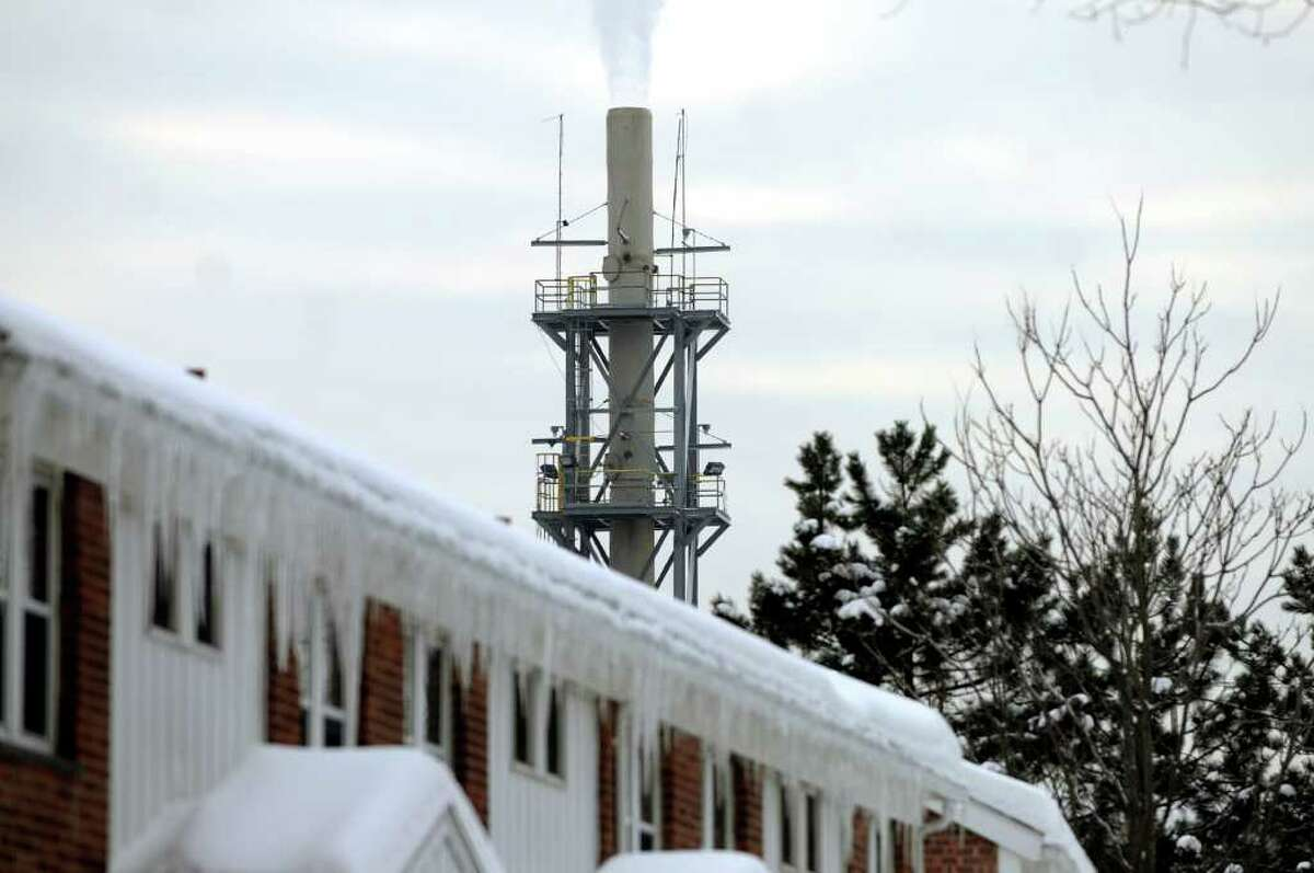 Norlite smokestack on Tuesday, Jan. 25, 2011, in Cohoes, N.Y. (Cindy Schultz / Times Union)