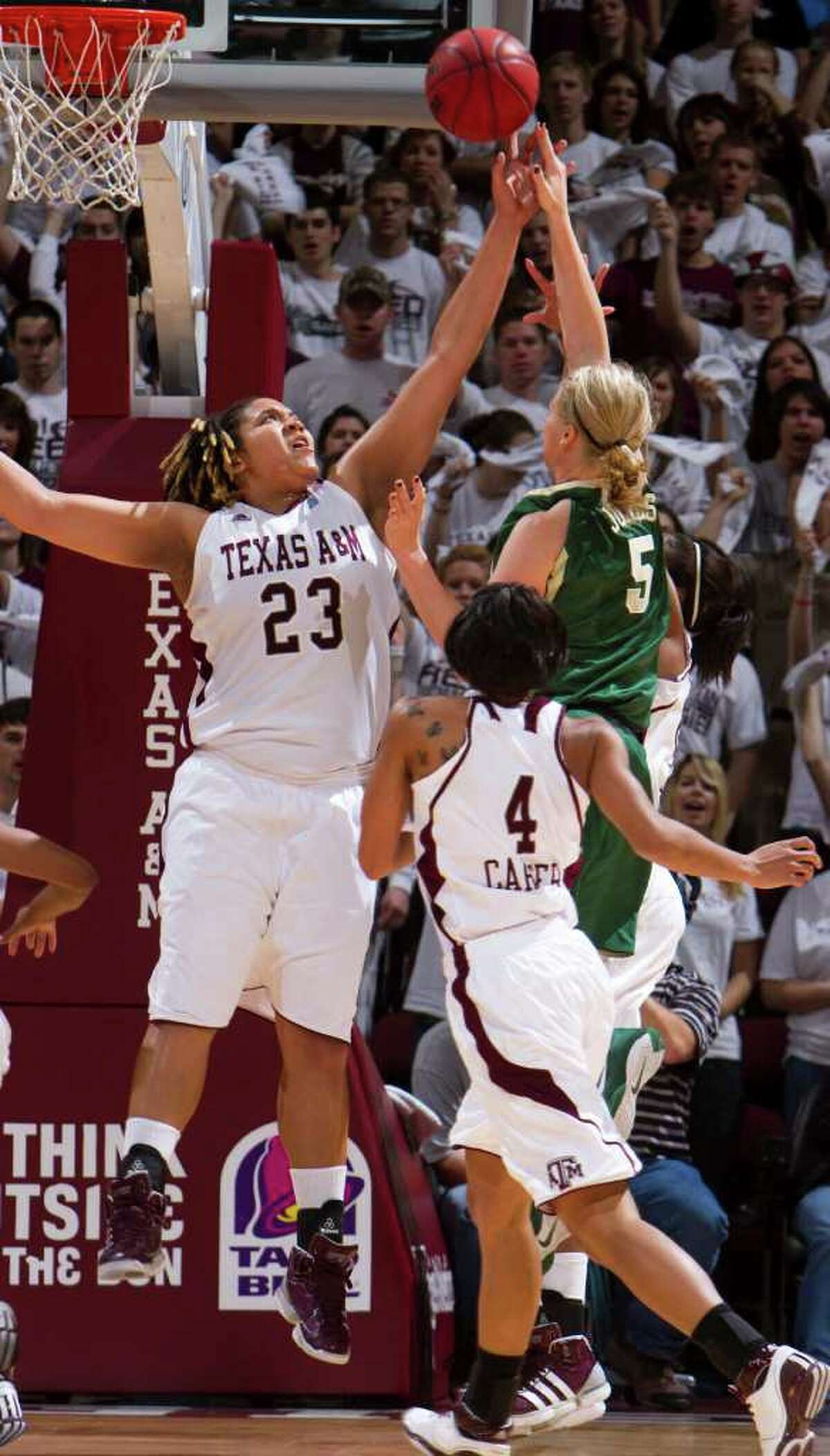 Texas A&M's Danielle Adams blocks a shot from Baylor guard Melissa Jones during the first half on Sunday, Jan. 30, 2011, in College Station.