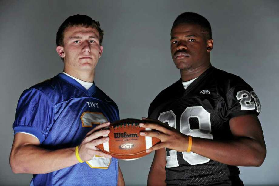 Kerrville Tivy QB and Express-News Area Offensive Player of the Year Johnny Manziel threw 45 TDs and ran for 30 in 2010. Steele running back Malcolm Brown rushed for 2,596 yards and 30 TDs, leading the Knights to the Class 5A Division II state championship. Photo: EDWARD A. ORNELAS, SAN ANTONIO EXPRESS-NEWS / eaornelas@express-news.net