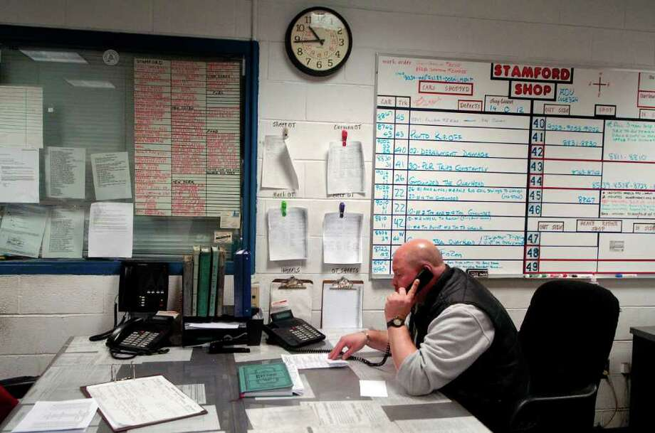 Foreman Eddie Usarewicz works in the office at the Stamford Rail Maintenance Shop in Stamford, Conn. on Monday January 31, 2011. Photo: Dru Nadler / Stamford Advocate Freelance