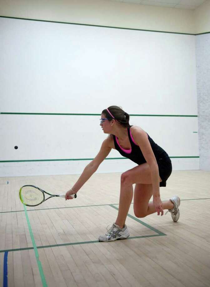 Anna Harrison of Greenwich Academy squash team in play vs. Chote in Greenwich on Monday Jan. 31, 2011. Photo: Douglas Healey, Douglas Healey/For Greenwich Time / Greenwich Time