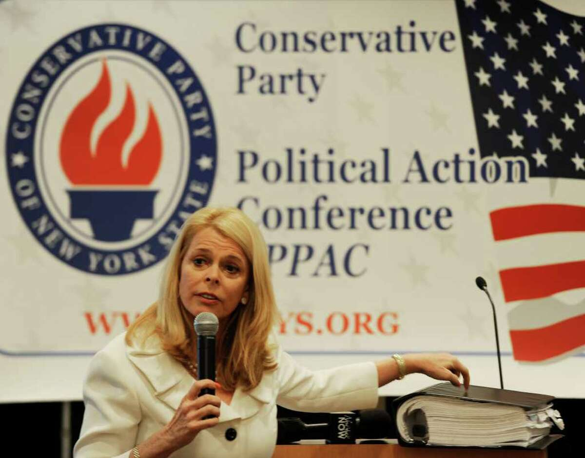 Former Lt. Gov. Betsy McCaughey praised Gov. Andrew Cuomo's plans to reduce state spending at the Conservative Party's annual political action conference on Monday at the Holiday Inn in Colonie. (Skip Dickstein / Times Union)