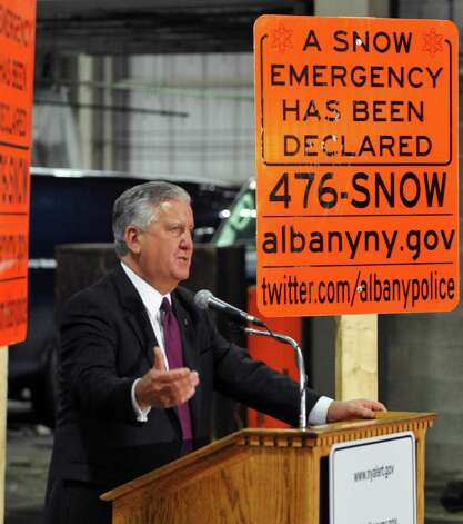 Albany Mayor Jerry Jennings announces details of the city's snow emergency during a news conference Tuesday at the DGS facility.  (John Carl D'Annibale / Times Union) Photo: John Carl D'Annibale / 10011946A
