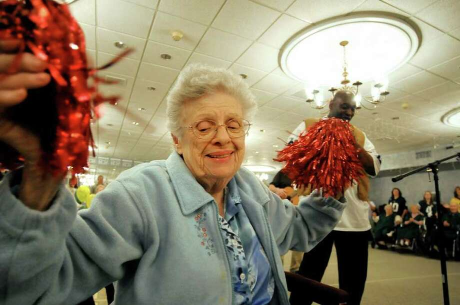 Resident Jane Damino takes part in the half-time show during Wheelchair Super Bowl VIII as Sackers take on the Wheelers on Tuesday, Feb. 1, 2011, at the Teresian House in Albany, N.Y.  (Cindy Schultz / Times Union) Photo: Cindy Schultz