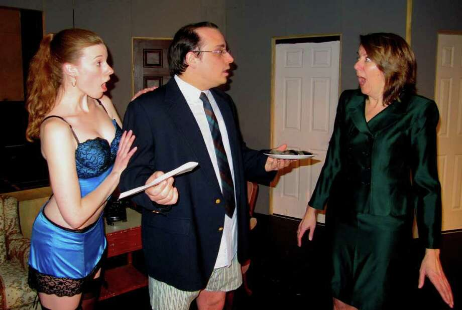 Sarah Smegal Brian Borowka And Julia Rust Rehearse One Of The Many Awkwardly Hysterical Moments