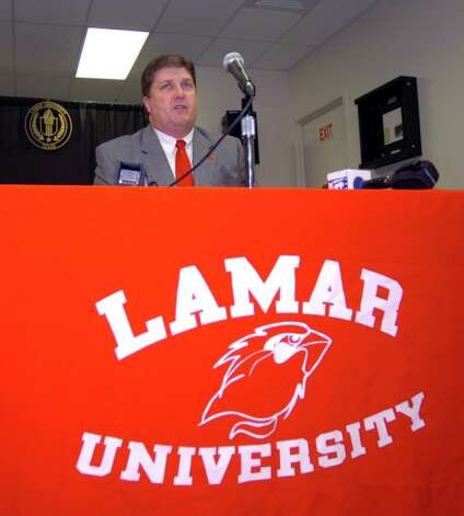 This past February Lamar football coach Ray Woodard held a press conference to discuss the team's latest signees. Pete Churton/The Enterprise Photo: Pete Churton / Beaumont