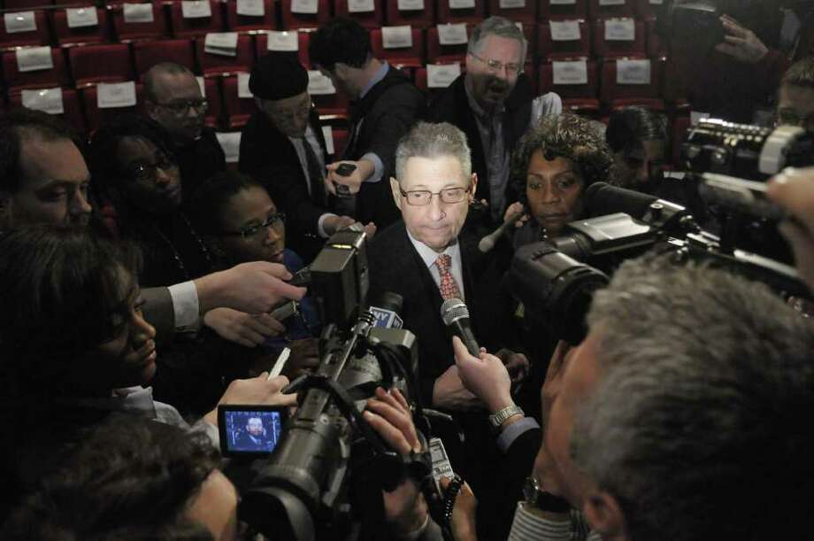 Assembly Speaker Sheldon Silver talks with the press following Gov. Andrew Cuomo's budget address  in the Hart Theater at The Egg in Albany, NY, on Tuesday, Feb. 1, 2011.  (Paul Buckowski / Times Union) Photo: Paul Buckowski / 00011924A