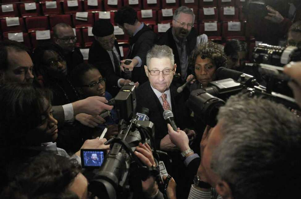 Assembly Speaker Sheldon Silver talks with the press following Gov. Andrew Cuomo's budget address in the Hart Theater at The Egg in Albany, NY, on Tuesday, Feb. 1, 2011. (Paul Buckowski / Times Union)