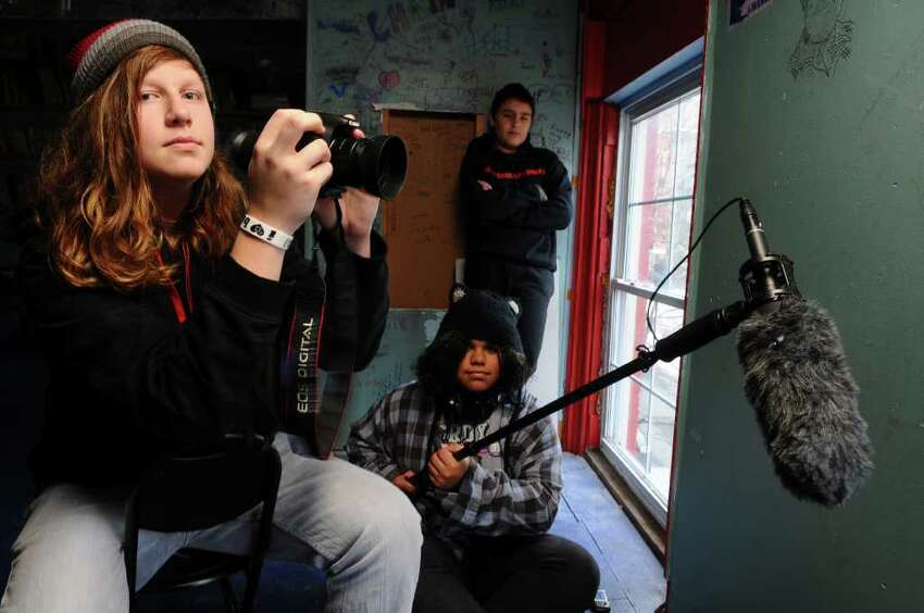 Albany High School freshman Freddie Boehrer, left, and Albany Free School eighth grader Aden Suchak, rear, and eighth grader Sylvia Simmons, bottom right, will show the film
