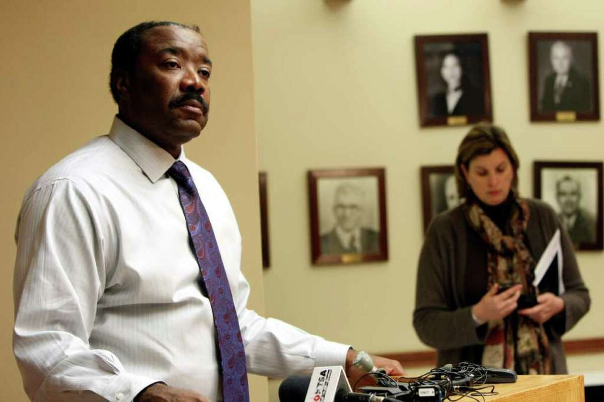 METRO: CPS Energy CEO Doyle Beneby speaks to the media about the rolling outages across the city. Utilities across the state are implementing rolling brownouts. CPS Energy says it will shut off power around the city in 15 minute increments and asks residents to power down appliances during these outages to reduce the risk of longer outage. HELEN L. MONTOYA/hmontoya@express-news.net