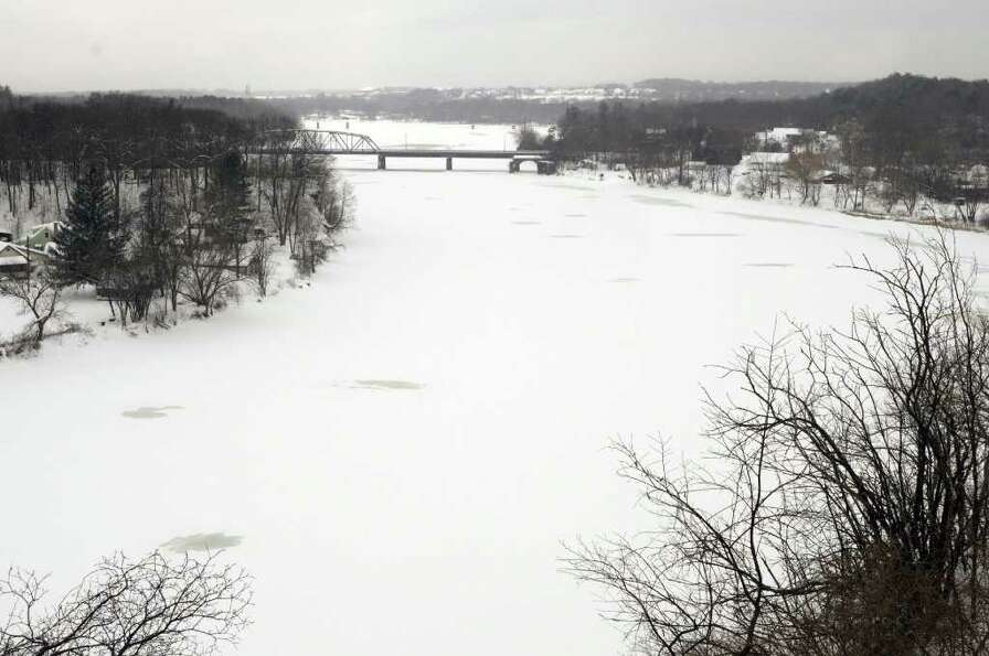 A view of the Rexford Bridge, which spans the Mohawk River, seen from Riverview Road in Rexford, NY,