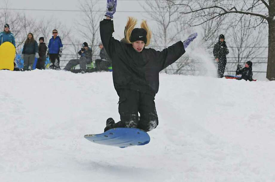 Teddi Palmer, 13 of Guilderland gets air on a hill at the Tawasentha Park Winter Recreation Area in Guilderland, NY on February 2, 2011. (Lori Van Buren / Times Union) Photo: Lori Van Buren