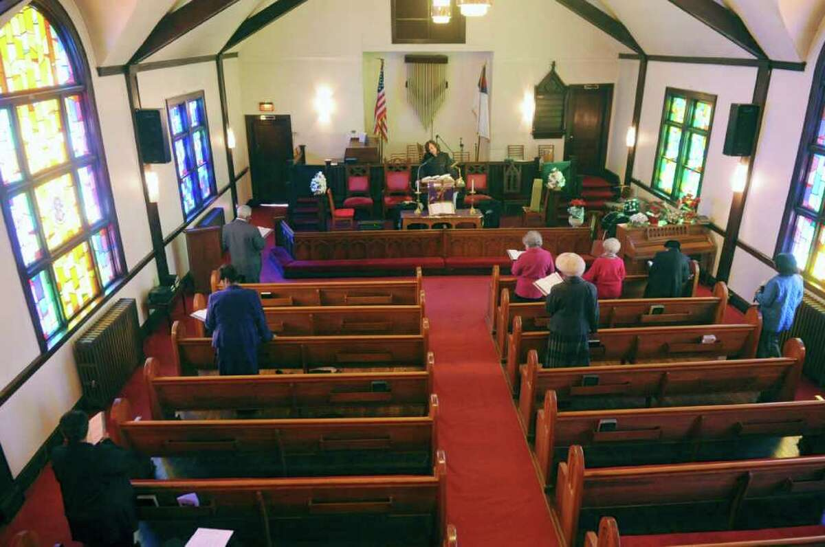 Parishioners sing a hymn during a service at Little Bethel African Methodist Episcopal Church on Sunday, Jan. 30, 2011.