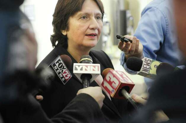 Defense attorney Cheryl Coleman talks to the media Thursday at the Albany County Judicial Center following the sentencing of her client, De Von Callicutt.  Callicut was sentenced to life without parole for the 2008 murder of Richard Bailey, a University at Albany student.  (Paul Buckowski / Times Union) Photo: Paul Buckowski / 10011957A