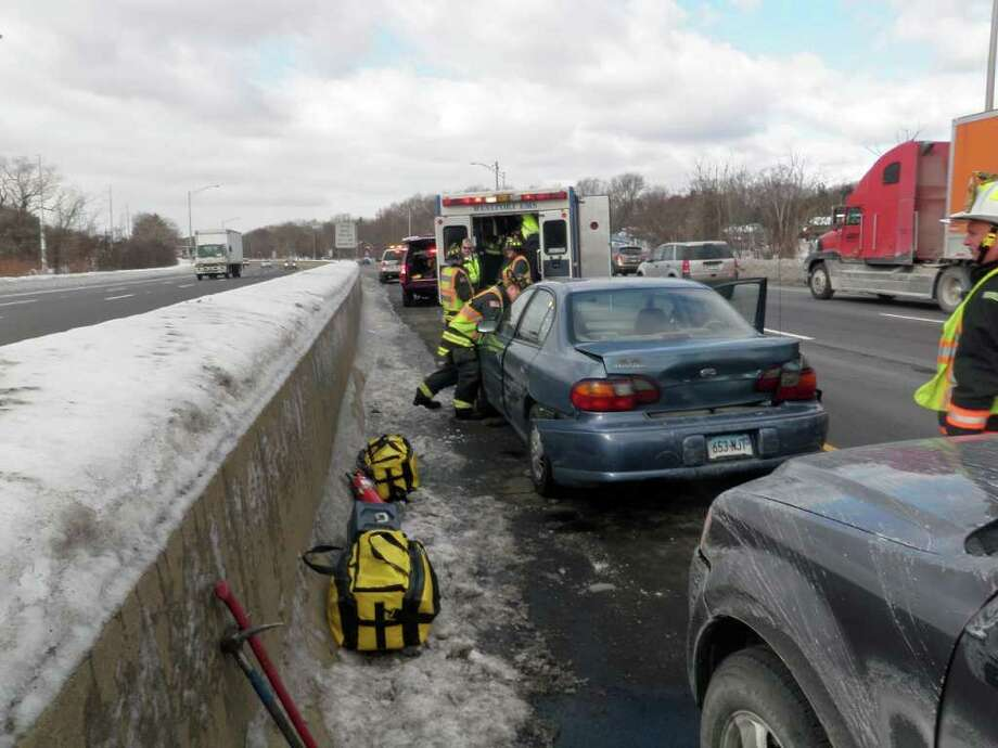The Westport Fire Department responded to a two-car accident on Interstate 95 Thursday morning. The accident happened around 10 a.m. southbound near exit 19, and blocked one travel lane. Photo: Contributed Photo / Westport News