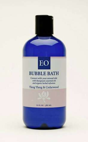 This undated file photo provided by EO Products shows EO Ylang Ylang bubble bath. A good activity for a snow day is to enjoy a relaxing bubble bath at home. (AP Photo/EO Products, FILE)