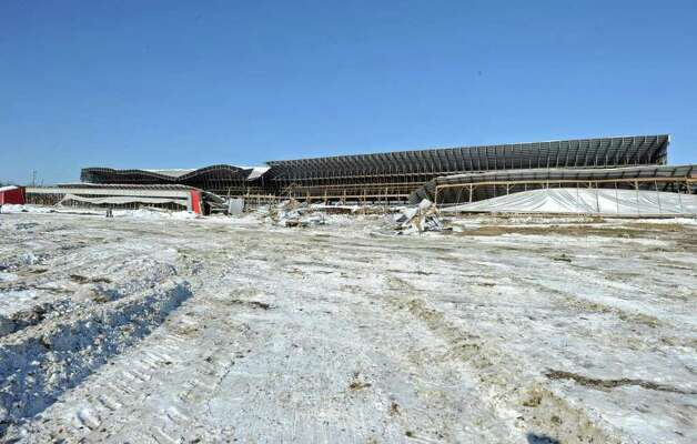 The roof of a cow barn at the King's Ransom Farm in Northumberland collapsed under the weight of heavy snow, killing or injuring more than 70 cows.  (Lori Van Buren / Times Union) Photo: Lori Van Buren