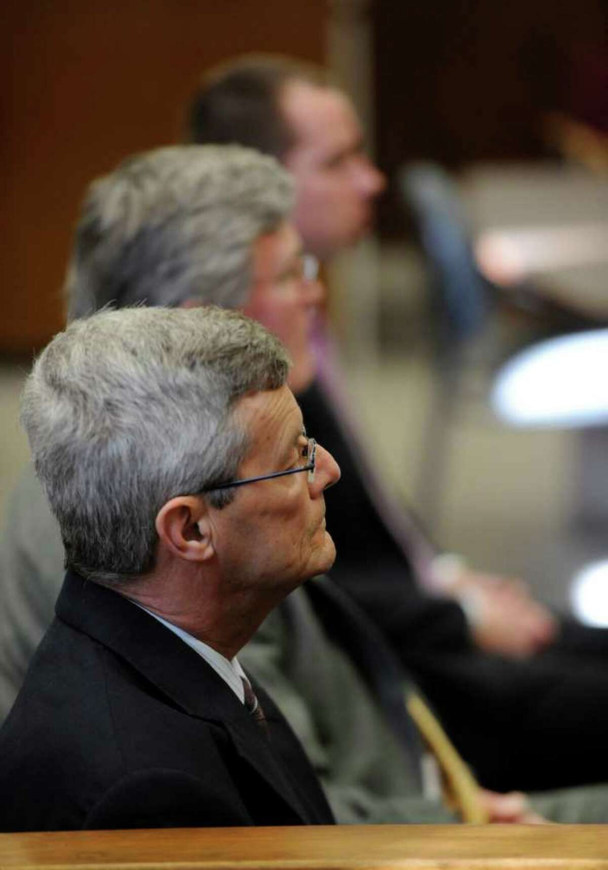 Former priest Gary Mercure listens to testimony during his trial for sexually abusing two boys in the 1980s. (Skip Dickstein / Times Union)