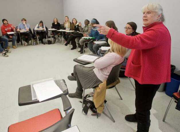 Louisa Burns-Bisogno, a prolific TV and film writer who has had dozens of scripts produced, teaches a screenwriting class at WestConn. Feb. 3, 2011 Photo: Scott Mullin / The News-Times Freelance