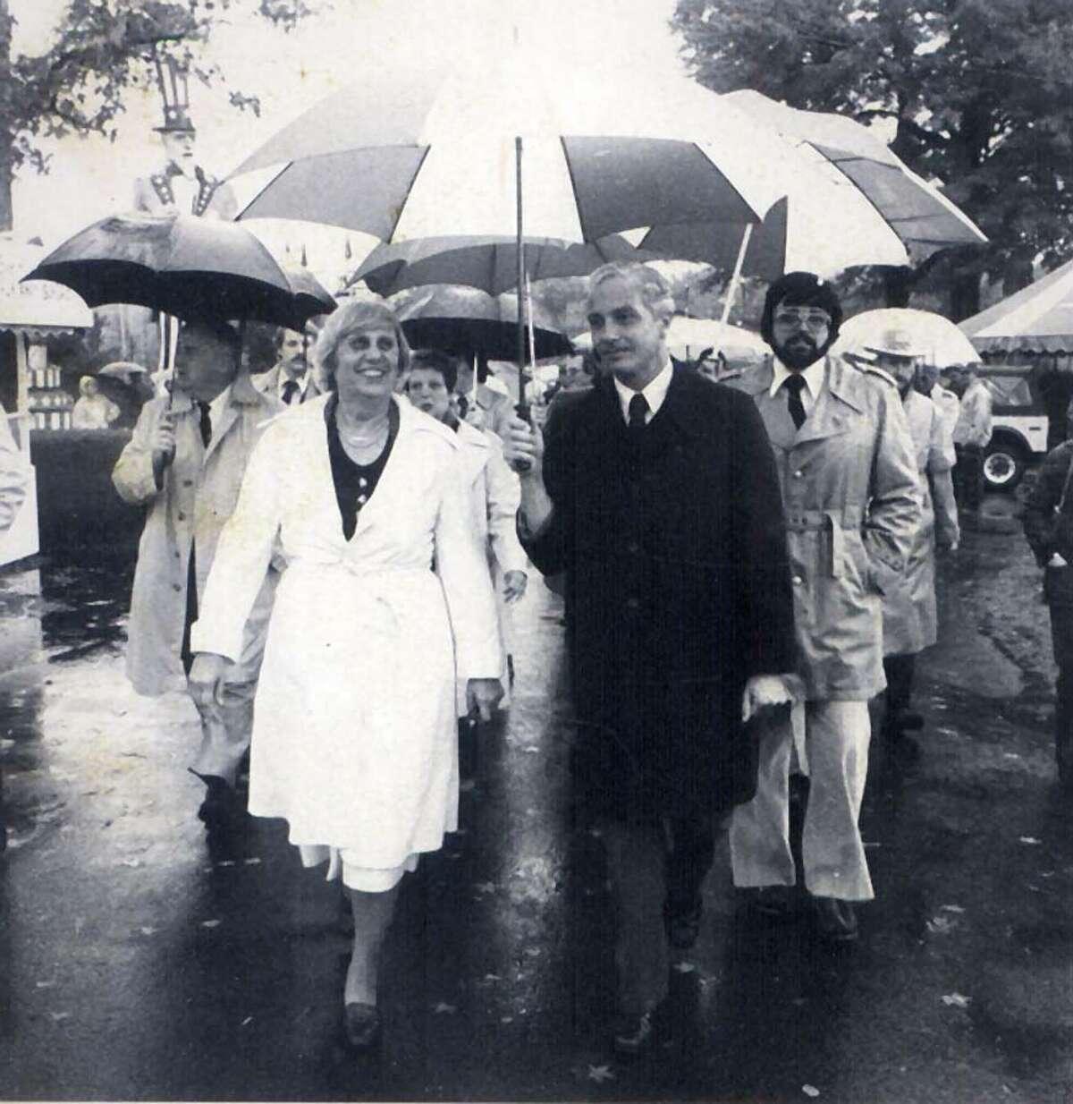 Gov. Ella Grasso tours the Danbury Fair with Congressman Bill Ratchford in this undated photo.