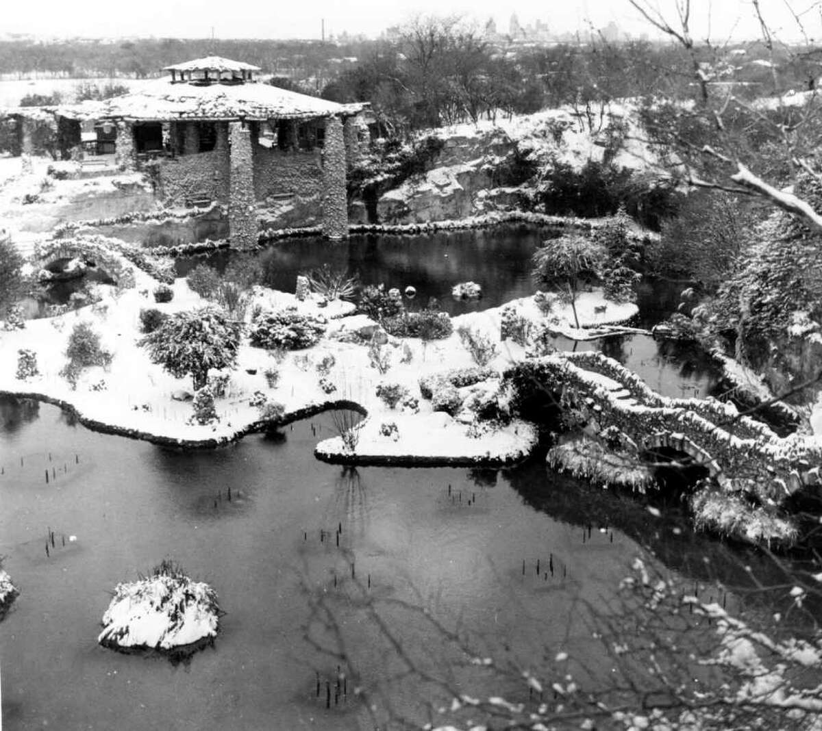 Attached is a scan of a photo I took of the Japanese Sunken Gardens when we had snow here in San Antonio. It could have been 1939, 1940 or 1941. I took many photos, and a friend, Morris Bowles, and I were fooling around on the Brackenridge (Park) Golf Course, when a newspaper photographer came by and took our picture. Morris is no longer with us, so I can't ask him about the snow.
