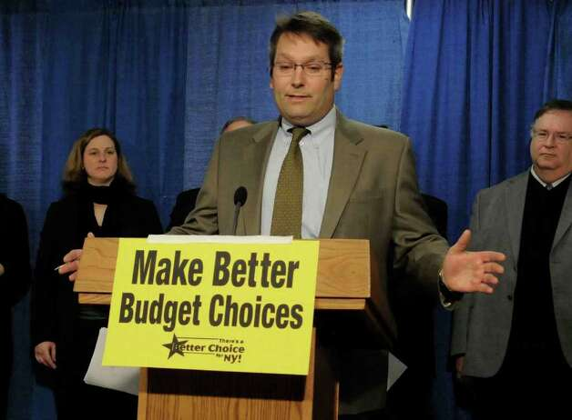 Ron Deutsch , executive director of New Yorkers for Fiscal Fairness, speaks during a news conference held by GrowingTogetherNY to address what the group says is harmful cuts in the state budget at the Capitol in Albany Feb. 3,2011.( Michael P. Farrell/Times Union ) Photo: Michael P. Farrell