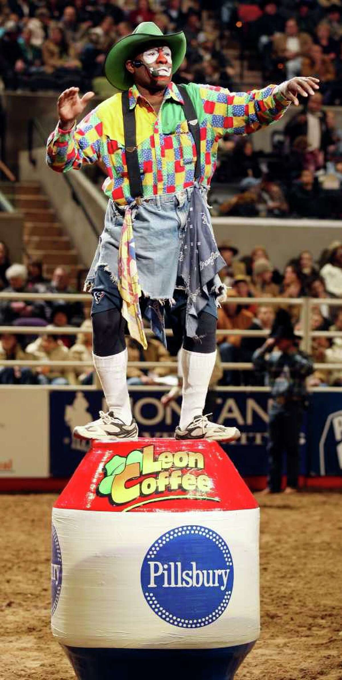 Barrelman Leon Coffee, from Wimberly, performs during the Xtreme Bulls event on Thursday, Feb. 3, 2011, during the San Antonio Stock Show & Rodeo at the AT&T Center.